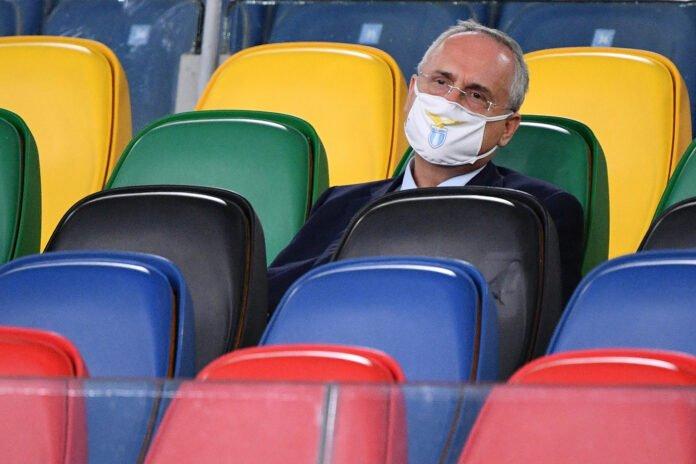 lazionews-lazio-lotito-claudio-presidente-mascherina-tribuna